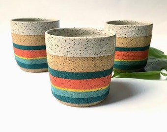 Turquoise and Red Speckled Cup-Ceramic Mug-Speckled Mug