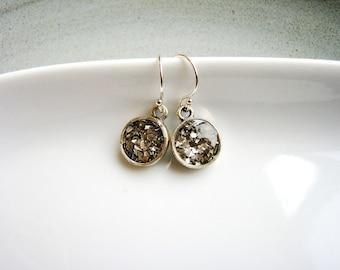 Silver Glitter Earrings, Minimalist Earrings, Silver Earrings, Small Dangles, Glass Glitter Earrings, Grey Earrings, Silver Earrings