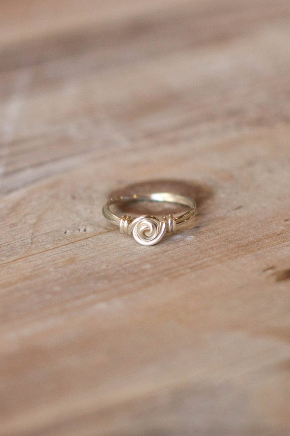 Wire Wrapped Ring Little Girls Ring Silver Gold Rose Gold