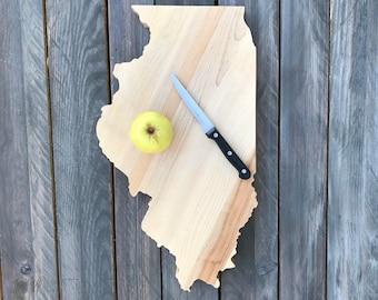 """Illinois Cutting Board, IL butcher block cutting board, state cutting board, butcher block cutting board, cheese board, 1.5"""" Butcher Block"""