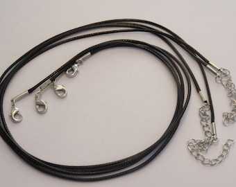 2 Waxed Cord Necklaces Black 47cm - CORD09