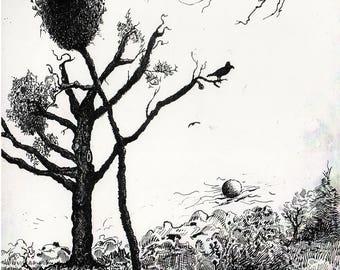 """Raven in a Tree - B&W - 11""""x14"""""""