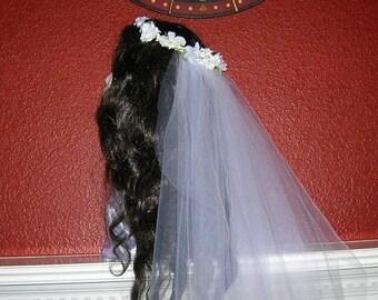 On Sale Bridal Floral Hair Wreath With Attached Waltz Length Veil, 100% HANDMADE, THE KATHERINE