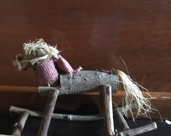 Vintage handmade branch and twig rocking horse