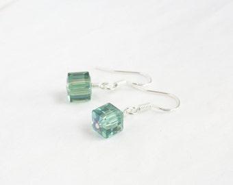 Swarovski earrings - sterling silver earrings - crystal cube earrings - Erinite AB earrings - green blue swarovski - greeny blue earrings
