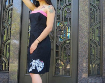 dress womens size 4 OOAK Tiger tattoo up-cycled fashion strapless animal print It's Me Designs resort wear pink