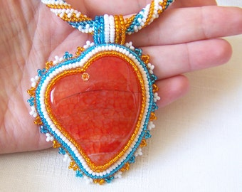 Bead Embroidery Beadwork Pendant Necklace with Orange Agate - ORANGE HEART - heart necklace - statement necklace