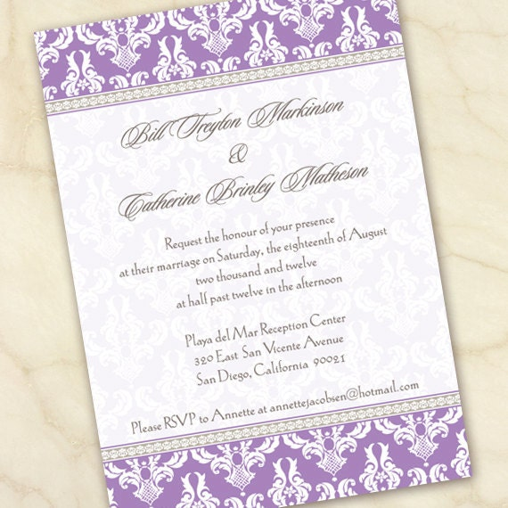 wedding invitations, lavender wedding invitations, bridal shower invitations, graduation party invitations, retirement party, IN141