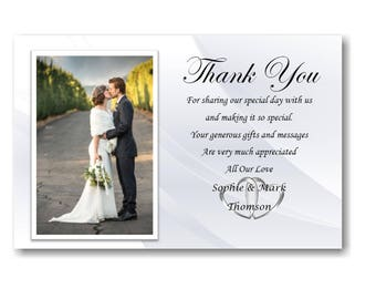 40 Personalised Wedding Day , Wedding Evening Thank You Thankyou Cards Ref W3 With self seal envelopes
