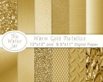 Warm Gold digital paper, Printable Gold Textures, Commercial Use, Glitter, sequins, brushed metal, gold foil