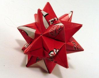 Small Origami Star Made From Licensed Cincinnati Reds Paper, Cincinnati Star, Reds Baseball Decoration, Cincinnati Baseball