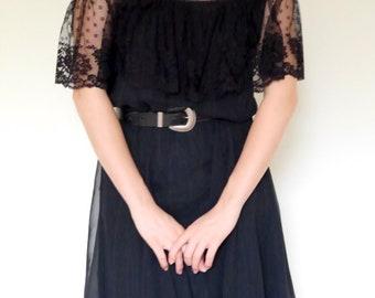 Vtg 70s 80s black lace off shoulder low back full circle tiered skirt dress