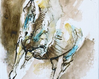 Small Acrylic Painting of a Gallop Horse, Animal, Modern Original Fine Art, Contemporary Horse Art