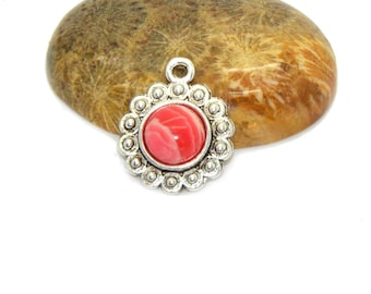 2 cabochons 08 mm coral colored agate