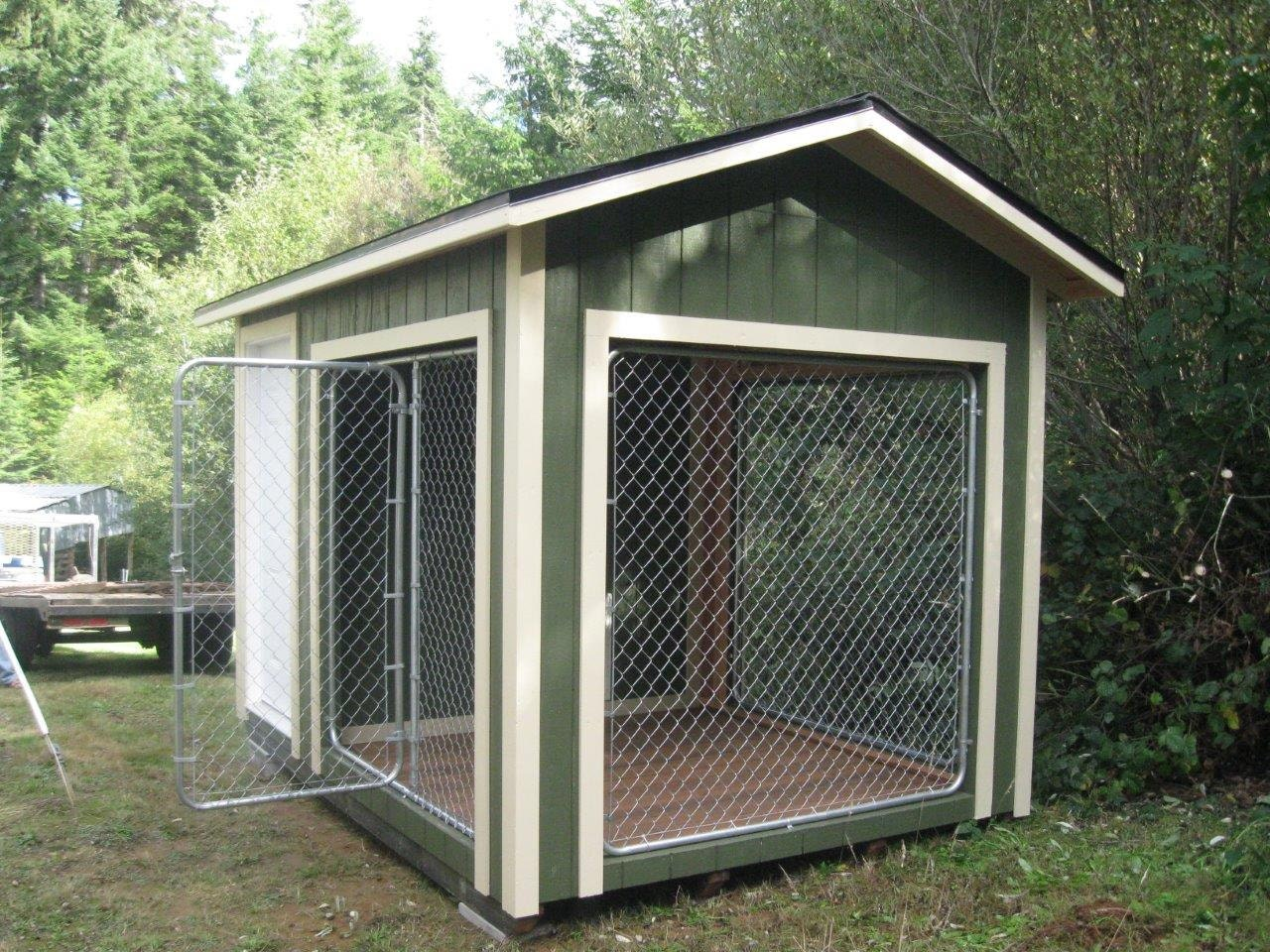 8x12 k9 kennel with 4x8 dog house and 8x8 kennel built to for Building a dog kennel business