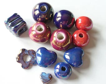 Set of 12 Ceramic beads