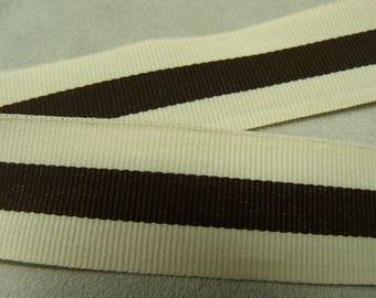 Ribbon decorative grosgrain - 2.5 cm - 2.5 cm - two-tone Brown & Cream