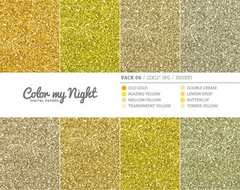 80% OFF SALE Digital Paper Yellow 'Pack06' Gold Glitter Images Backgrounds for Invitations, Scrapbook, Stickers, Prints, Crafts...