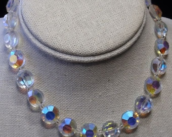 Vintage Heavy  Aurora Borealis Necklace