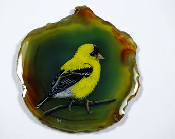 American Goldfinch Painting on Agate