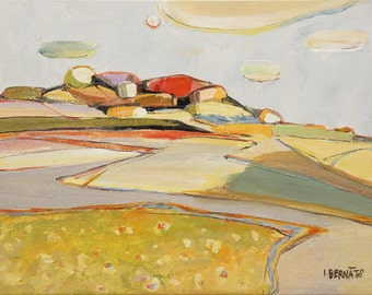 "ABSTRACT landscape. Small original PAINTING. Light gray, yellow colours. MODERN painting ""Landscape no.3"" by Igors Bernats"