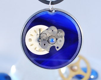 Handcrafted Steampunk Glass Pendant Necklace - 'Midnight', handmade