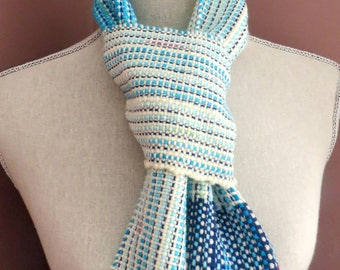 Hand Woven Blue Scarf, handwoven, weaving blues, wool, soft, versatile and easy to wear accessory