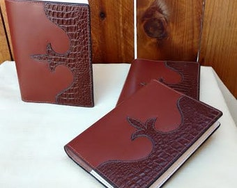 Hand Made Leather Journal with Embossed Alligator Overlay and Replaceable Book. Overlay included on front and back.