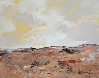 Landscape Acrylic Painting Yellow Brown Grey Original Abstract Minimalist 8x10 Artwork
