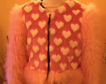 Sale Faux fur heart jacket size UK 10-14
