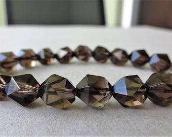 Genuine Smoky Quartz Crystal Bead Bracelet for Men or Women facetted (Stretch) 10mm beads AAA Quality