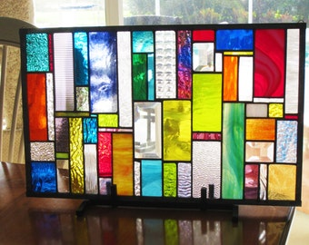 Stained Glass SuncatcherTable Top Decor and/or Window Panel   SPARKLETASTIC