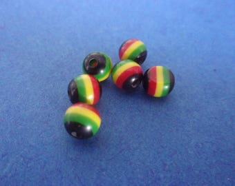 Round multicolor striped resin bead - 6mm