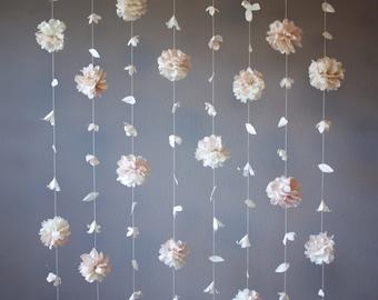 Anthropologie inspired paper flower garland coral peach paper flower and tissue paper puff garland mightylinksfo