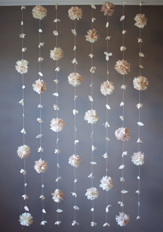 Paper Flower And Tissue Paper Puff Garland