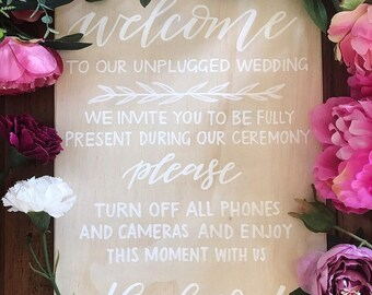 Unplugged Wedding Sign. Bespoke wedding sign. willow and ink design. personalised wedding sign. rustic wedding. wedding sign. event sign