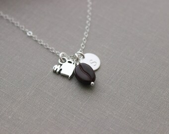 Java Junkie Sterling Silver Coffee Cup Charm Necklace with Coffee Bean and Initial Personalized Latte Lover, Coffee Break, Coffee Lover Gift