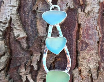 English sea glass sterling silver necklace - Triple piece teardrop pendant