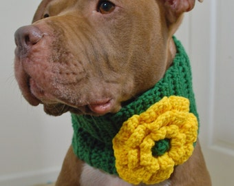 Dog Cowl Green with Yellow Flower Crochet for Large Breeds