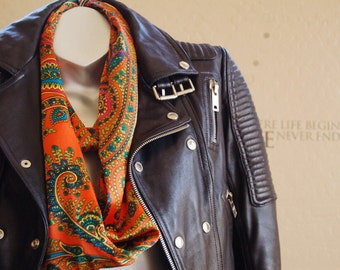 Mother's Day  gift!Beautiful silk infinity scarf,Colorful print scarf , handmade orange silk scarf.women fashion,gift for her