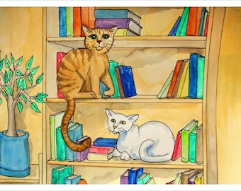 Downloadable Print, Cats on a bookshelf, Color Pencils