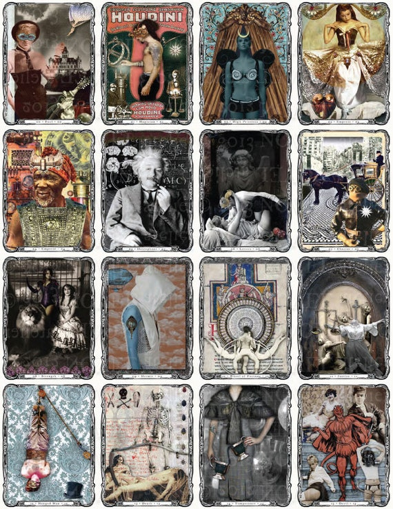Steampunk tarot deck diy instant download for Decorative tarot cards