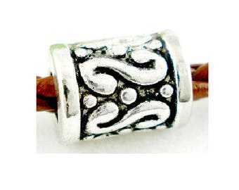 Set of 5 tubes beads silver antique 9 mm x 7 mm