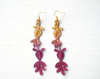 Gold and Burgundy Red Lace Earrings  // Lace Jewelry