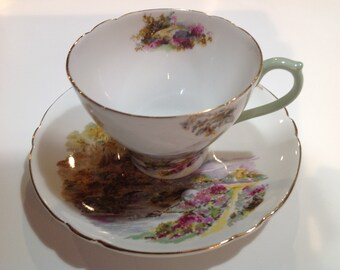 Shelley Fine Bone China Tea Cup and Saucer, Heather Pattern 13419