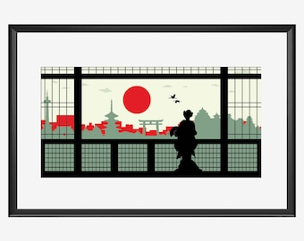 Kyoto skyline print, Kyoto art, Kyoto  print, Kyoto poster, Kyoto Japan, Geisha art, Geisha print, Geisha poster, Geisha