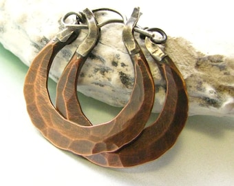Small Rustic Copper Earrings, Forged Earrings, Mixed Metal Hoop Artisan Earrings, Metalsmith Earrings, Silver And Copper Hoop Earrings