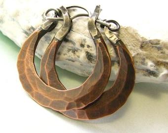 Small Rustic Copper Earrings, Forged Earrings, Mixed Metal Hoop Artisan Earrings, Metalsmith Earrings, Silver And Copper Hoop Earrings