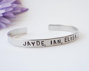 Newsprint - Custom Bracelet Cuff - Personalized Bracelet - Custom Cuff - Handstamped Cuff - Gift for Mom - Aluminum Cuff - Custom Bracelet