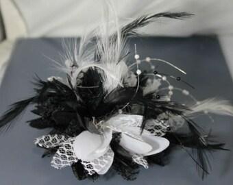 Black and White Fascinator Black Headband Clip Comb Flower Corsage